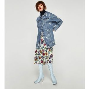 Zara long distressed denim jacket